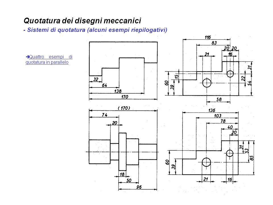 Quotatura dei disegni meccanici - Sistemi di quotatura (alcuni esempi riepilogativi) Quattro esempi di quotatura in parallelo