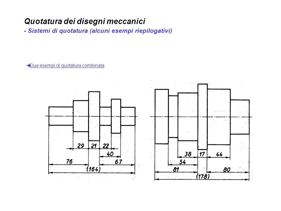 Quotatura dei disegni meccanici - Sistemi di quotatura (alcuni esempi riepilogativi) Due esempi di quotatura combinata