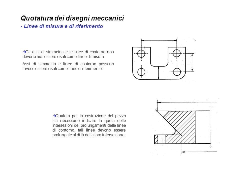 Quotatura dei disegni meccanici - Linee di misura e di riferimento Qualora per la costruzione del pezzo sia necessario indicare la quota delle interse