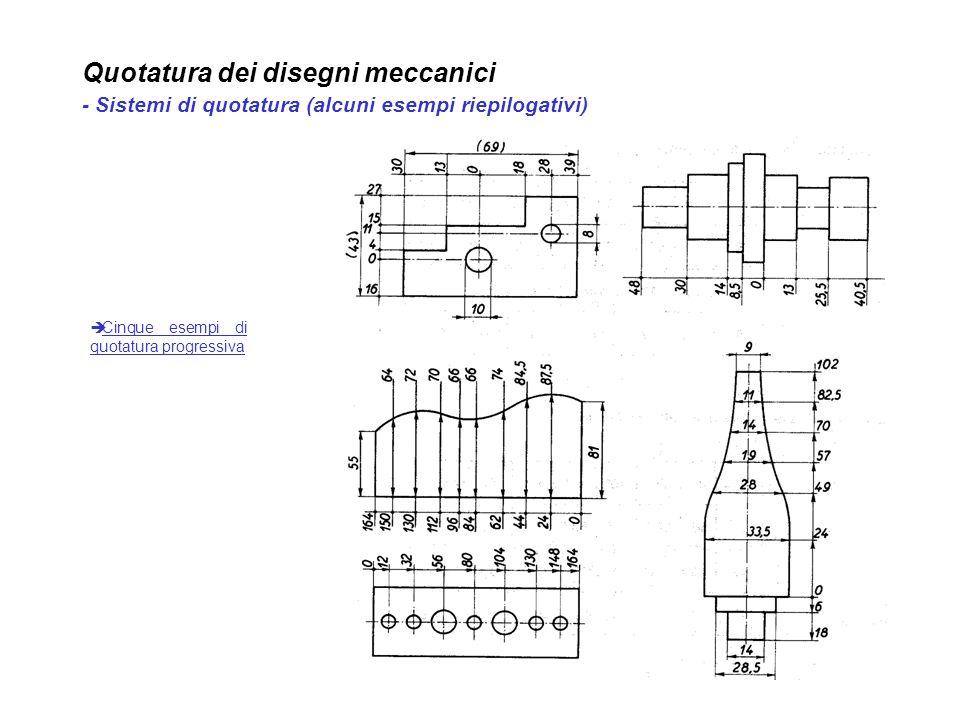 Quotatura dei disegni meccanici - Sistemi di quotatura (alcuni esempi riepilogativi) Cinque esempi di quotatura progressiva