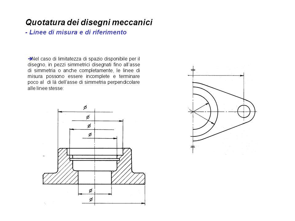 Quotatura dei disegni meccanici - Linee di misura e di riferimento Nel caso di limitatezza di spazio disponibile per il disegno, in pezzi simmetrici d