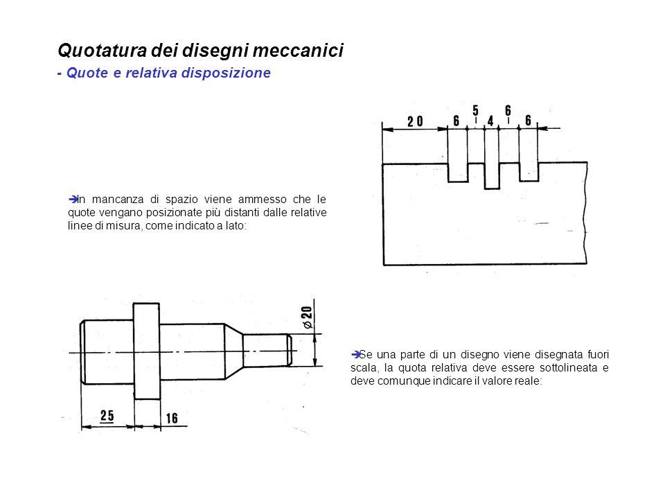 Quotatura dei disegni meccanici - Quote e relativa disposizione In mancanza di spazio viene ammesso che le quote vengano posizionate più distanti dall
