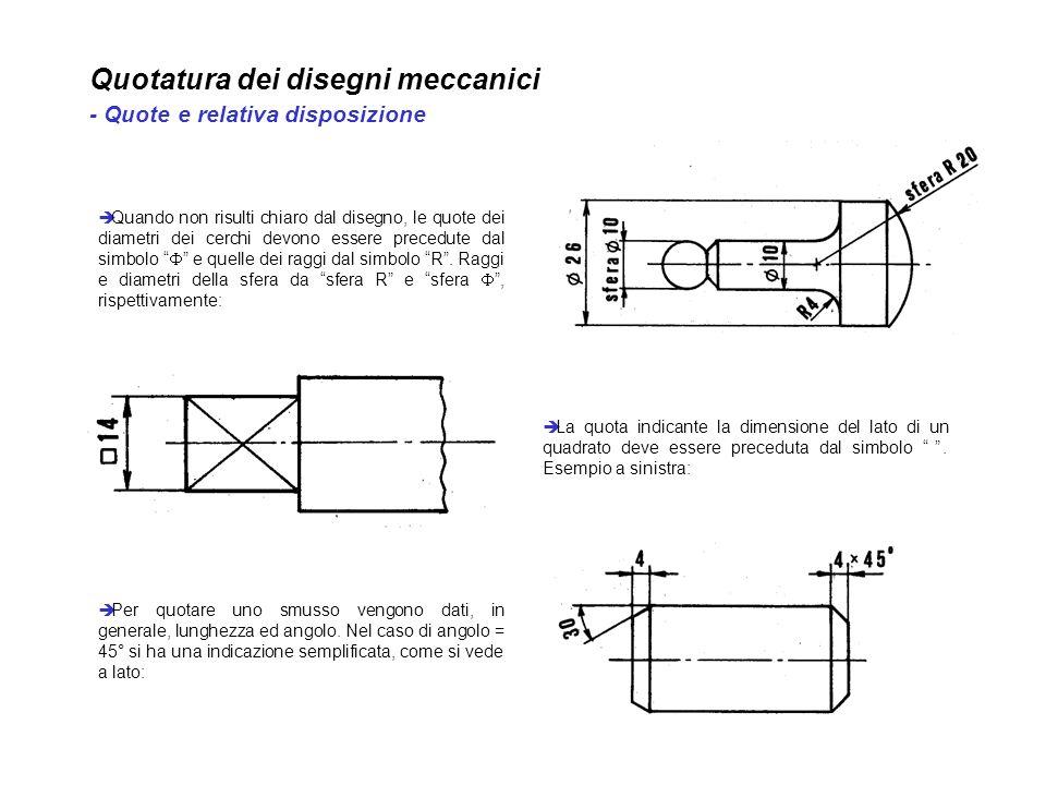 Quotatura dei disegni meccanici - Quote e relativa disposizione Quando non risulti chiaro dal disegno, le quote dei diametri dei cerchi devono essere