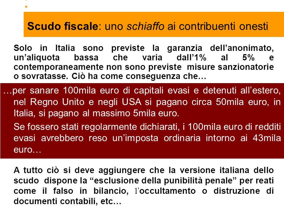 23 Solo in Italia sono previste la garanzia dellanonimato, unaliquota bassa che varia dall1% al 5% e contemporaneamente non sono previste misure sanzionatorie o sovratasse.