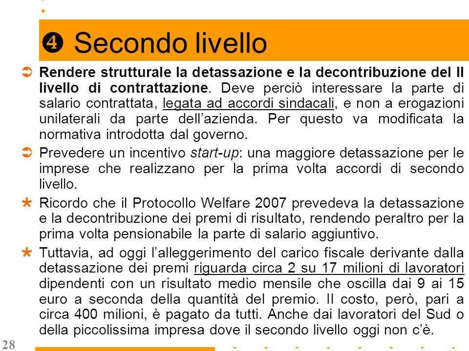 28 Secondo livello Rendere strutturale la detassazione e la decontribuzione del II livello di contrattazione.