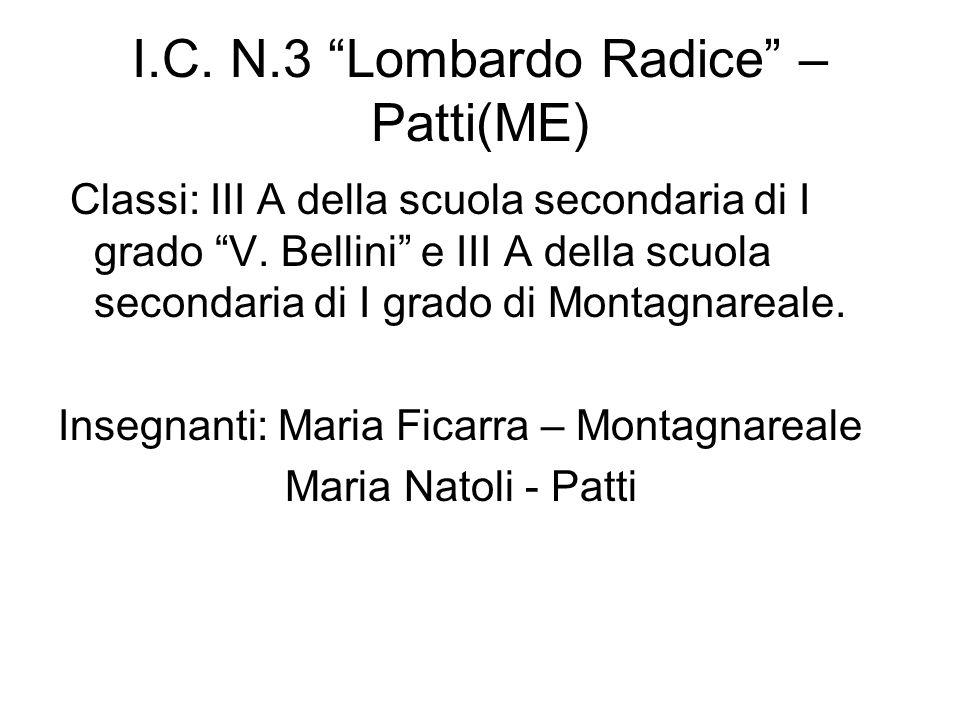 I.C. N.3 Lombardo Radice – Patti(ME) Classi: III A della scuola secondaria di I grado V. Bellini e III A della scuola secondaria di I grado di Montagn
