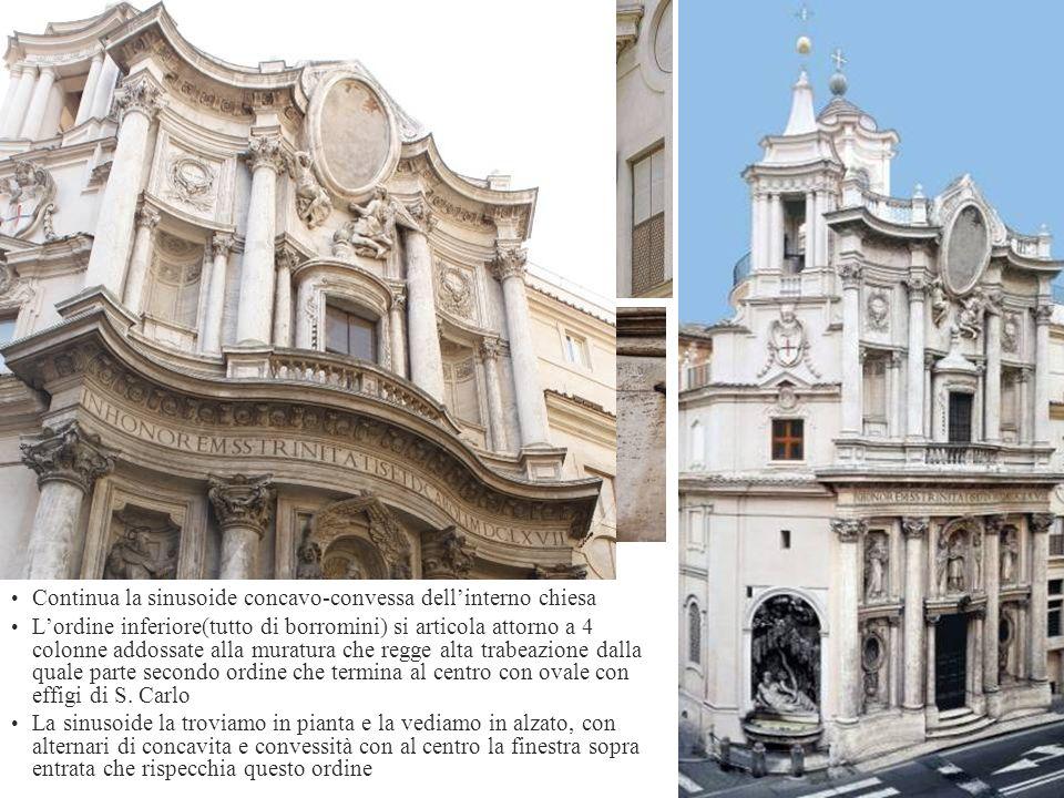Continua la sinusoide concavo-convessa dellinterno chiesa Lordine inferiore(tutto di borromini) si articola attorno a 4 colonne addossate alla muratur