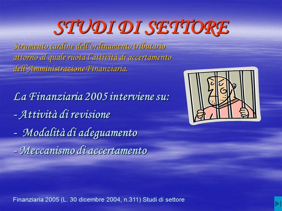 STUDI DI SETTORE La Finanziaria 2005 interviene su: - Attività di revisione - Modalità di adeguamento - Meccanismo di accertamento Finanziaria 2005 (L.