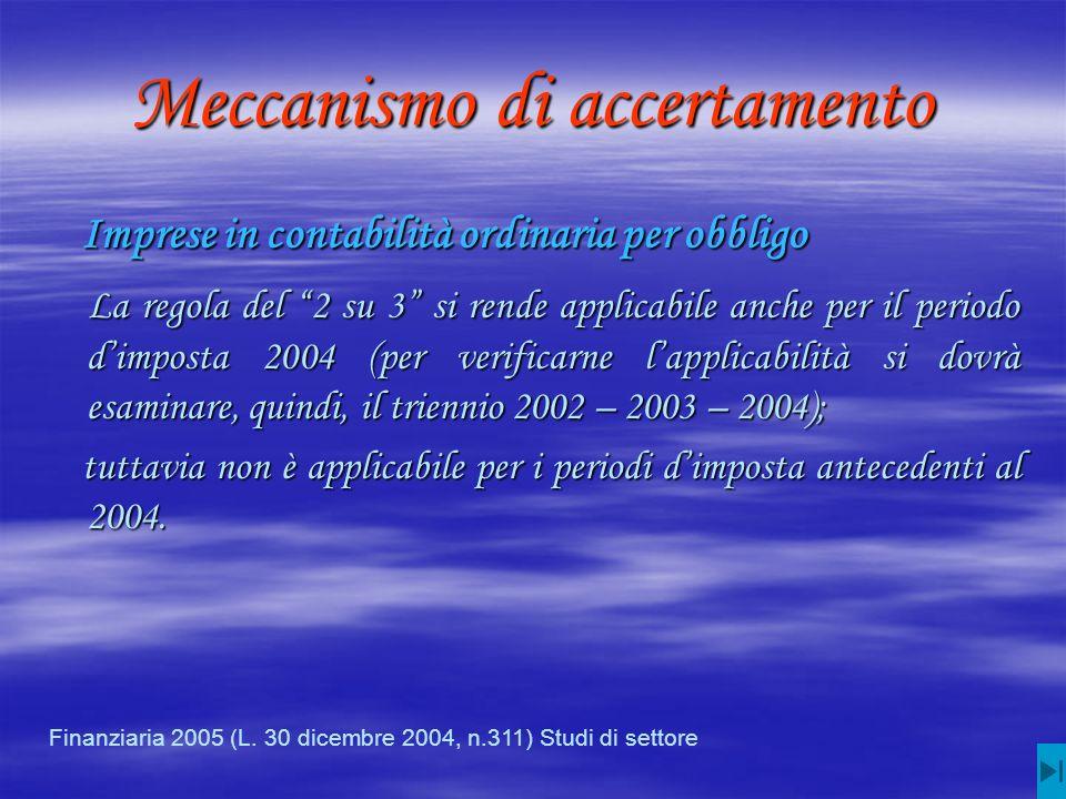 Meccanismo di accertamento Imprese in contabilità ordinaria per obbligo Imprese in contabilità ordinaria per obbligo La regola del 2 su 3 si rende applicabile anche per il periodo dimposta 2004 (per verificarne lapplicabilità si dovrà esaminare, quindi, il triennio 2002 – 2003 – 2004); La regola del 2 su 3 si rende applicabile anche per il periodo dimposta 2004 (per verificarne lapplicabilità si dovrà esaminare, quindi, il triennio 2002 – 2003 – 2004); tuttavia non è applicabile per i periodi dimposta antecedenti al 2004.