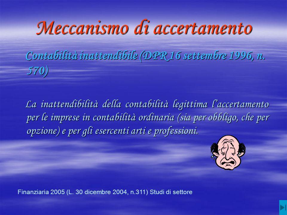 Meccanismo di accertamento Contabilità inattendibile (DPR 16 settembre 1996, n.
