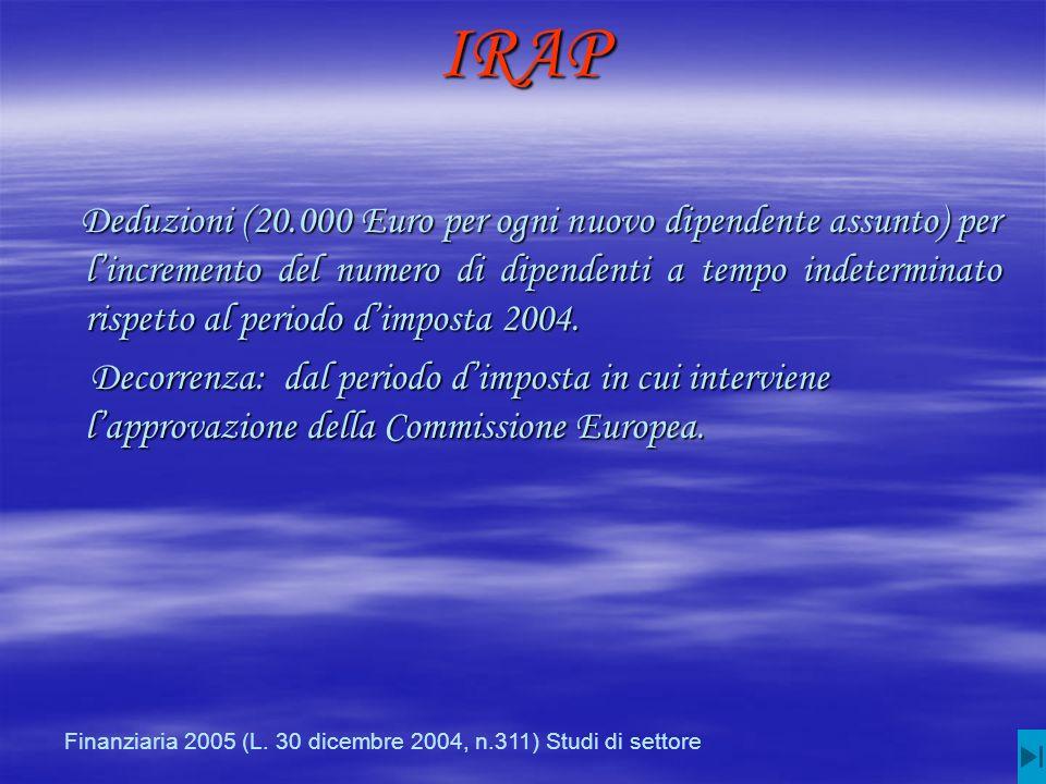IRAP Deduzioni (20.000 Euro per ogni nuovo dipendente assunto) per lincremento del numero di dipendenti a tempo indeterminato rispetto al periodo dimposta 2004.