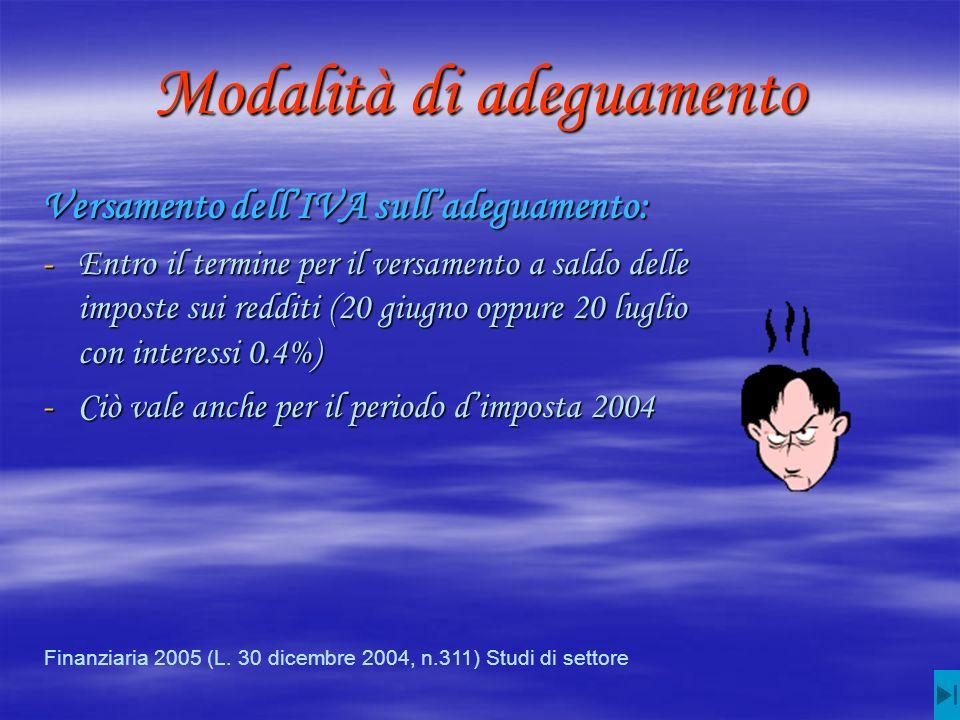 Modalità di adeguamento Versamento dellIVA sulladeguamento: -Entro il termine per il versamento a saldo delle imposte sui redditi (20 giugno oppure 20 luglio con interessi 0.4%) -Ciò vale anche per il periodo dimposta 2004 Finanziaria 2005 (L.
