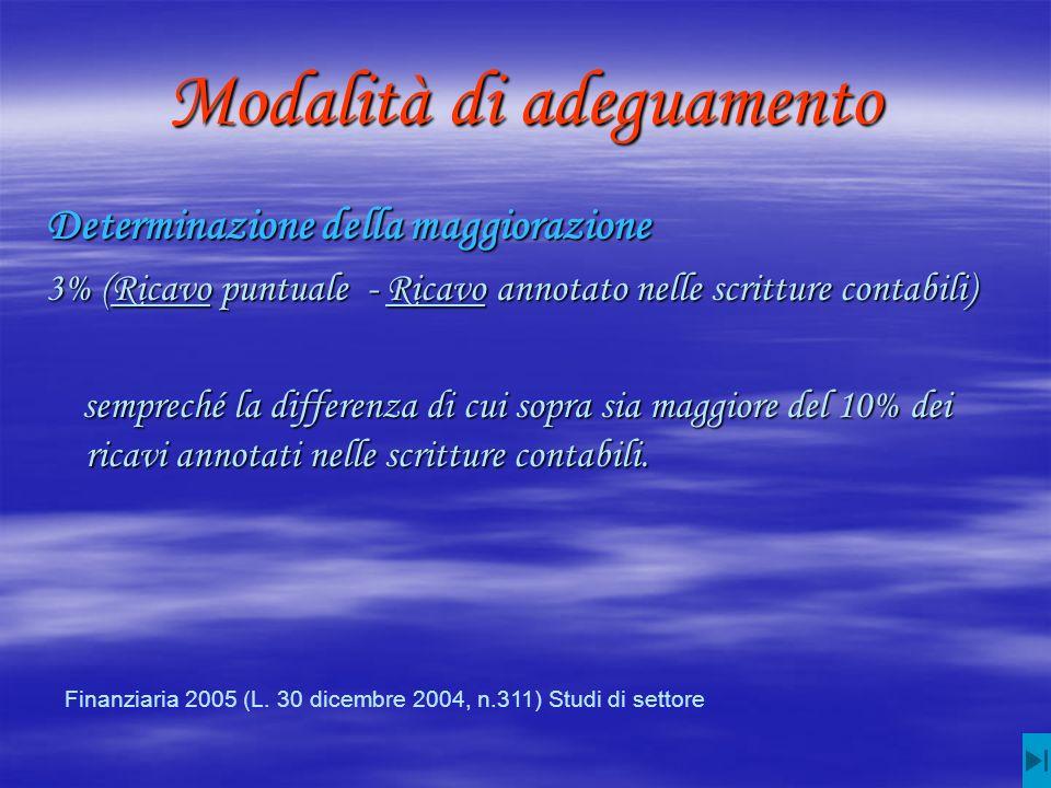 Modalità di adeguamento Determinazione della maggiorazione 3% (Ricavo puntuale - Ricavo annotato nelle scritture contabili) sempreché la differenza di cui sopra sia maggiore del 10% dei ricavi annotati nelle scritture contabili.