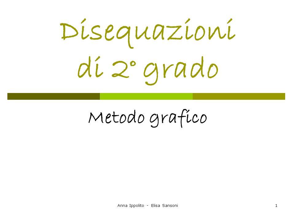 Anna Ippolito - Elisa Sansoni2 Disequazione di 2° grado Una disequazione di secondo grado in una incognita è riconducibile ad una delle seguenti forme