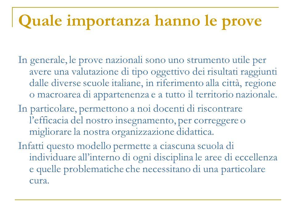 Quale importanza hanno le prove In generale, le prove nazionali sono uno strumento utile per avere una valutazione di tipo oggettivo dei risultati rag