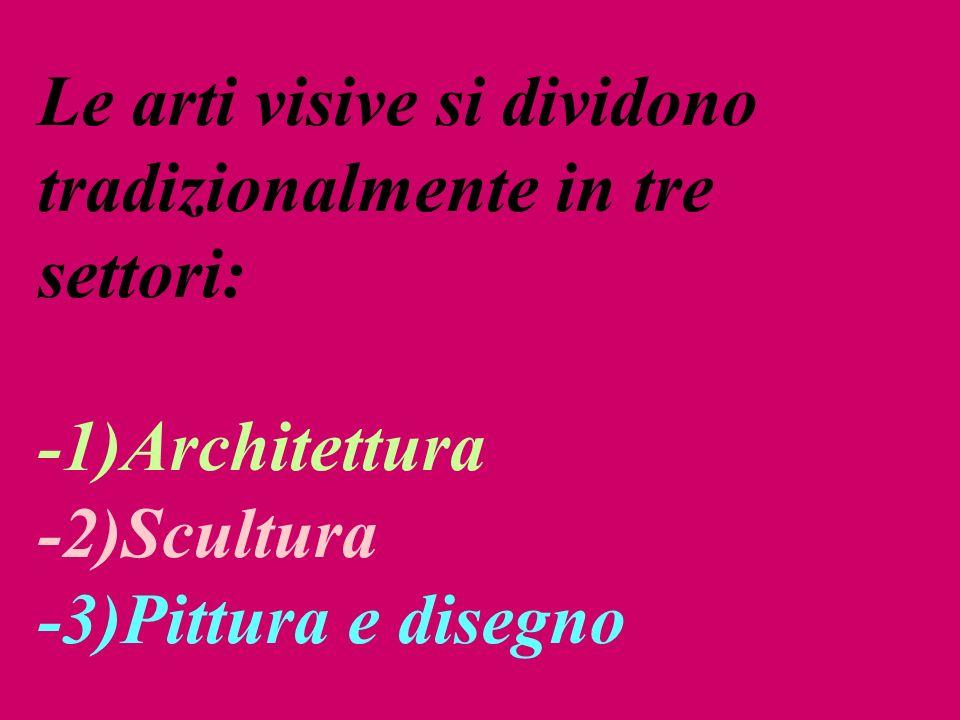 Le arti visive si dividono tradizionalmente in tre settori: -1)Architettura -2)Scultura -3)Pittura e disegno