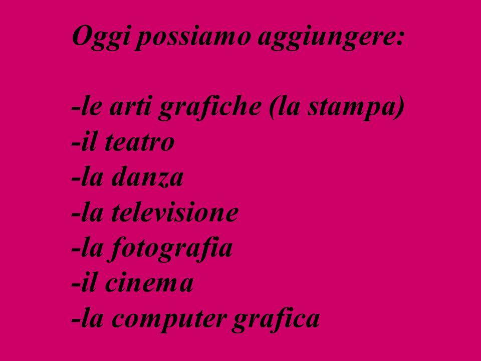 Oggi possiamo aggiungere: -le arti grafiche (la stampa) -il teatro -la danza -la televisione -la fotografia -il cinema -la computer grafica