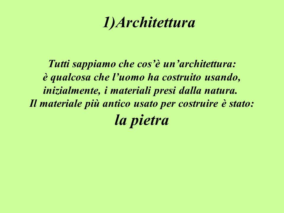 1)Architettura Tutti sappiamo che cosè unarchitettura: è qualcosa che luomo ha costruito usando, inizialmente, i materiali presi dalla natura.
