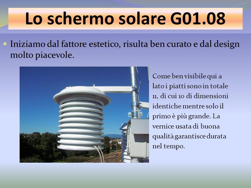 Lo schermo solare G01.08 Iniziamo dal fattore estetico, risulta ben curato e dal design molto piacevole. Come ben visibile qui a lato i piatti sono in