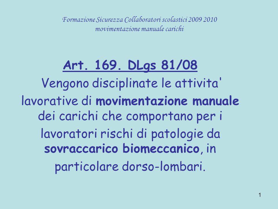 1 Formazione Sicurezza Collaboratori scolastici 2009 2010 movimentazione manuale carichi Art. 169. DLgs 81/08 Vengono disciplinate le attivita' lavora