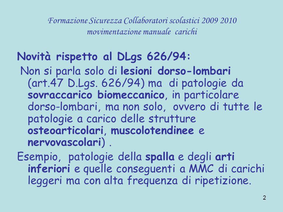 13 Formazione Sicurezza Collaboratori scolastici 2009 2010 movimentazione manuale carichi Il mal di schiena è un sintomo di una alterazione a carico: Vertebre Dischi intervertebrali Nervi