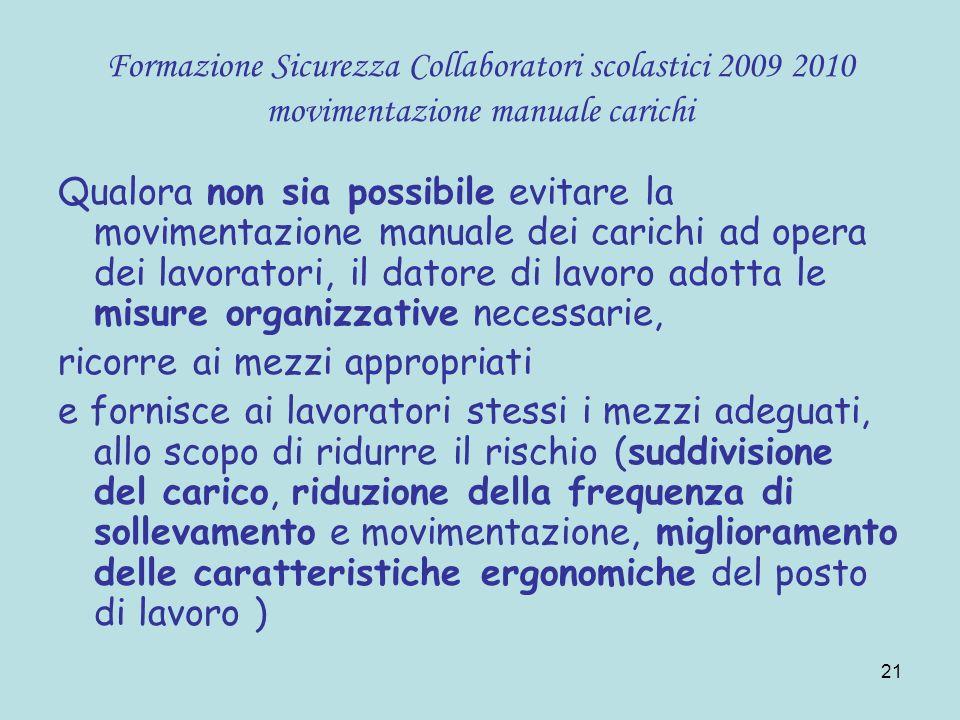 21 Formazione Sicurezza Collaboratori scolastici 2009 2010 movimentazione manuale carichi Qualora non sia possibile evitare la movimentazione manuale