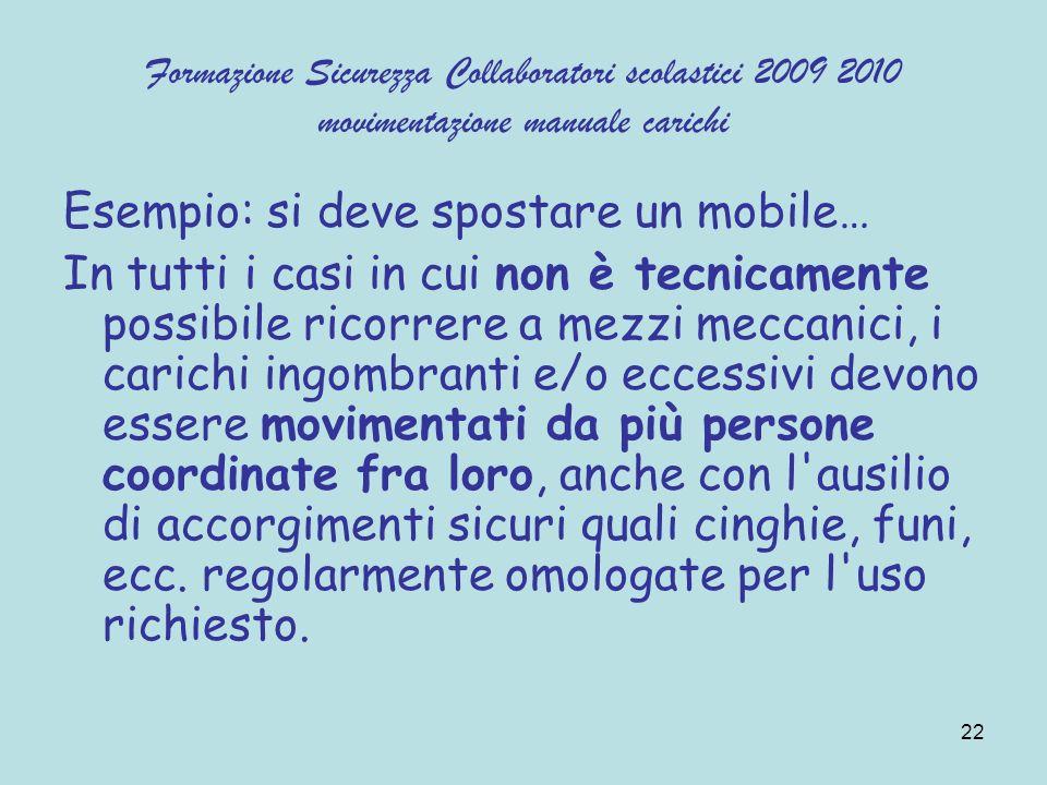 22 Formazione Sicurezza Collaboratori scolastici 2009 2010 movimentazione manuale carichi Esempio: si deve spostare un mobile… In tutti i casi in cui