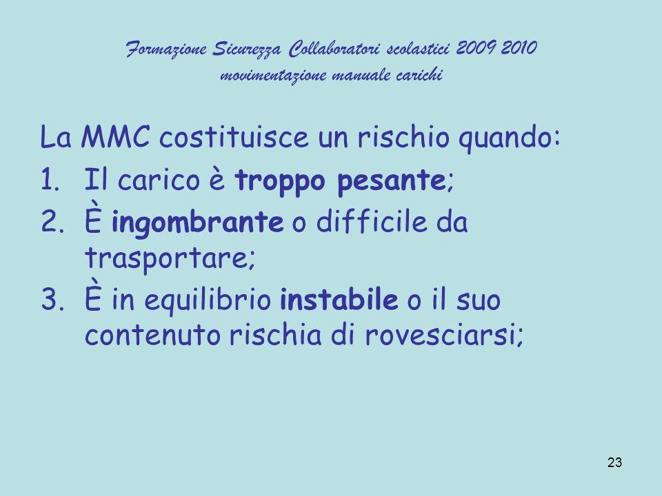 23 Formazione Sicurezza Collaboratori scolastici 2009 2010 movimentazione manuale carichi La MMC costituisce un rischio quando: 1.Il carico è troppo p