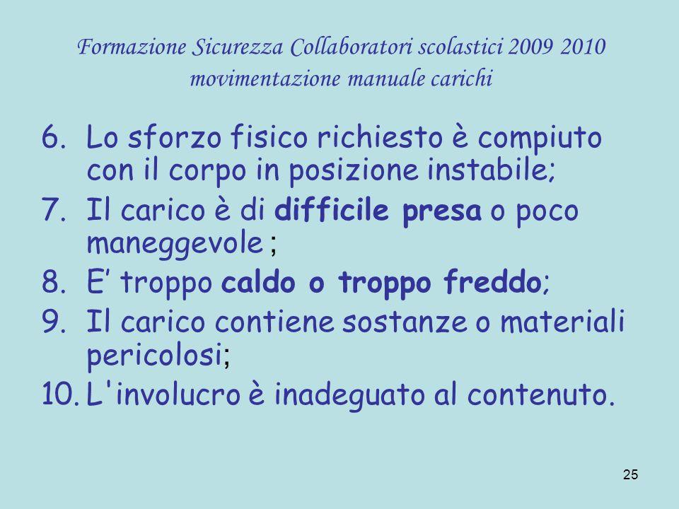 25 Formazione Sicurezza Collaboratori scolastici 2009 2010 movimentazione manuale carichi 6.Lo sforzo fisico richiesto è compiuto con il corpo in posi