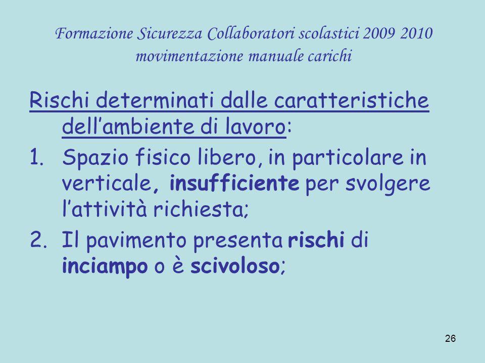 26 Formazione Sicurezza Collaboratori scolastici 2009 2010 movimentazione manuale carichi Rischi determinati dalle caratteristiche dellambiente di lav