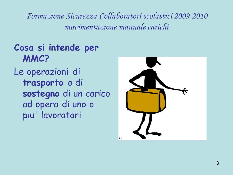44 Formazione Sicurezza Collaboratori scolastici 2009 2010 movimentazione manuale carichi Se si è soli: suddividere il carico in due contenitori portandoli con tutte e due le braccia.
