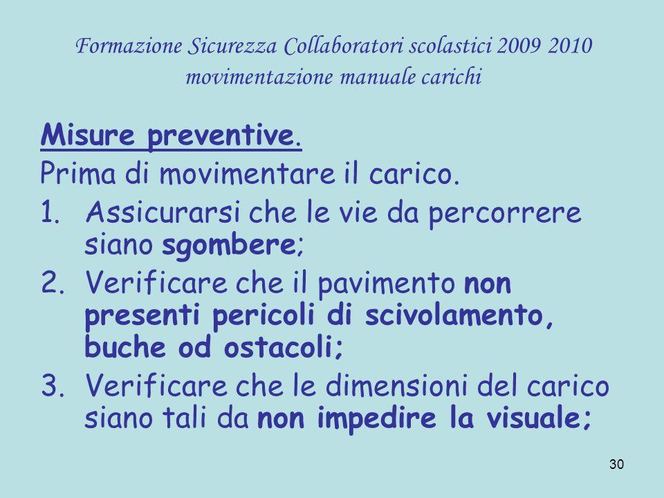 30 Formazione Sicurezza Collaboratori scolastici 2009 2010 movimentazione manuale carichi Misure preventive. Prima di movimentare il carico. 1.Assicur