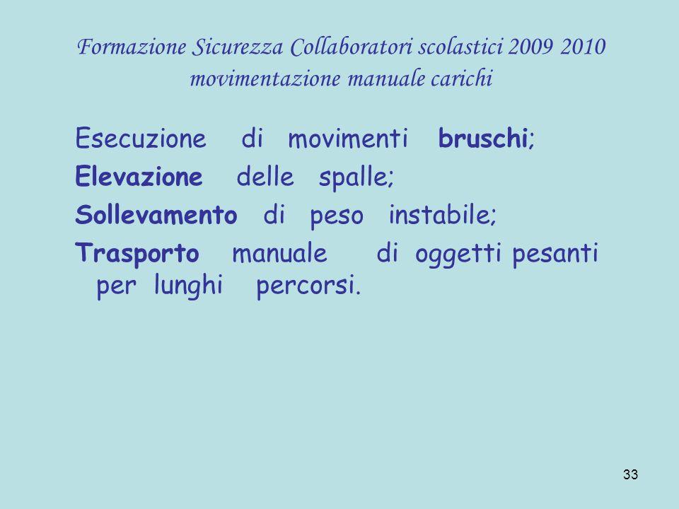 33 Formazione Sicurezza Collaboratori scolastici 2009 2010 movimentazione manuale carichi Esecuzione di movimenti bruschi; Elevazione delle spalle; So