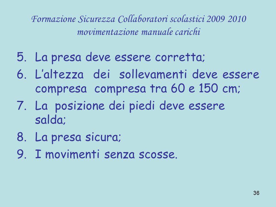 36 Formazione Sicurezza Collaboratori scolastici 2009 2010 movimentazione manuale carichi 5.La presa deve essere corretta; 6.Laltezza dei sollevamenti