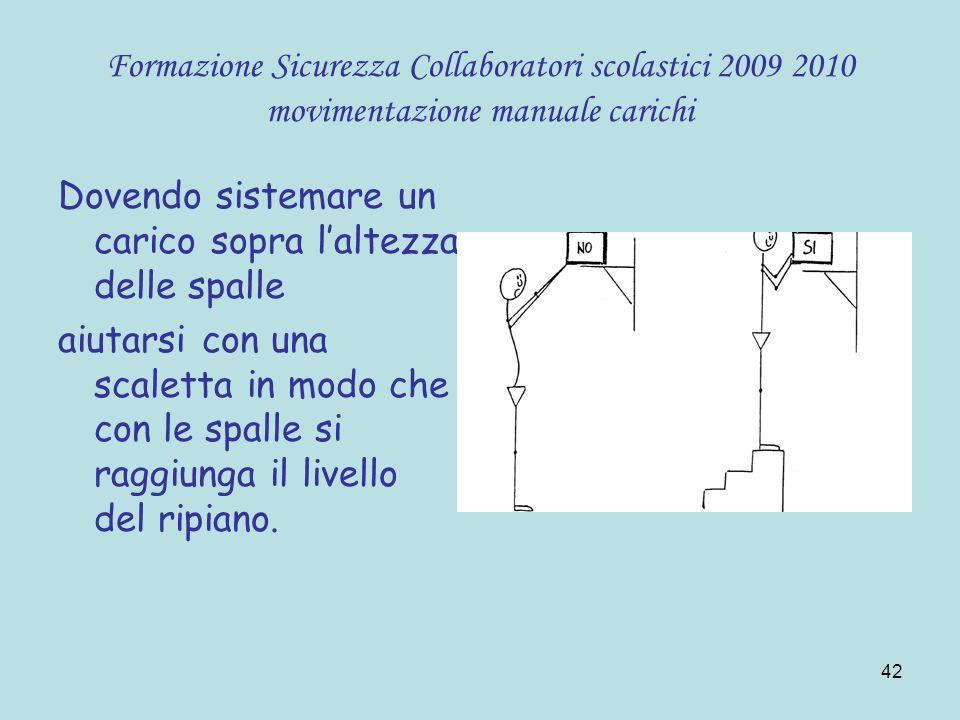 42 Formazione Sicurezza Collaboratori scolastici 2009 2010 movimentazione manuale carichi Dovendo sistemare un carico sopra laltezza delle spalle aiut