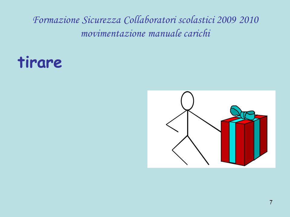 18 Formazione Sicurezza Collaboratori scolastici 2009 2010 movimentazione manuale carichi Iperlordosi