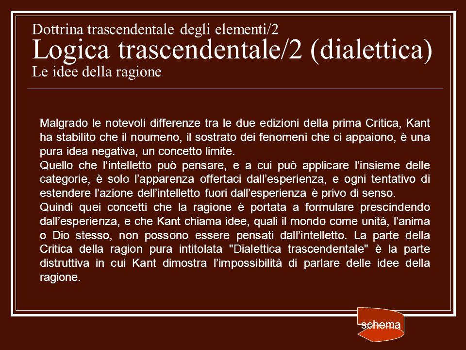 Dottrina trascendentale degli elementi/2 Logica trascendentale/2 (dialettica) Le idee della ragione Malgrado le notevoli differenze tra le due edizion