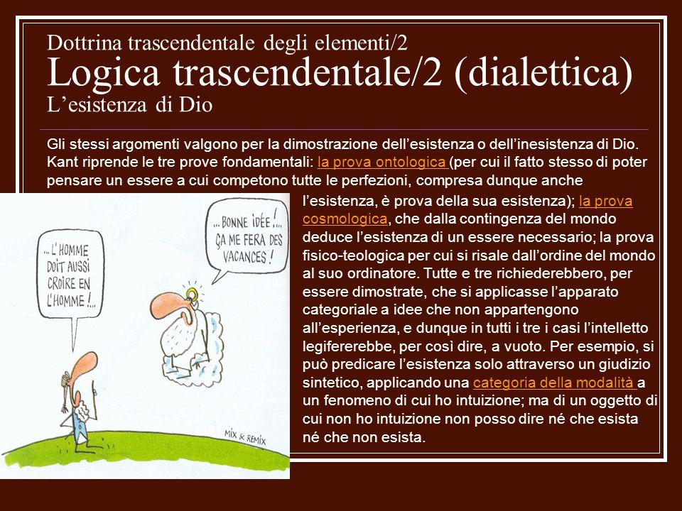 Dottrina trascendentale degli elementi/2 Logica trascendentale/2 (dialettica) Lesistenza di Dio lesistenza, è prova della sua esistenza); la prova cos