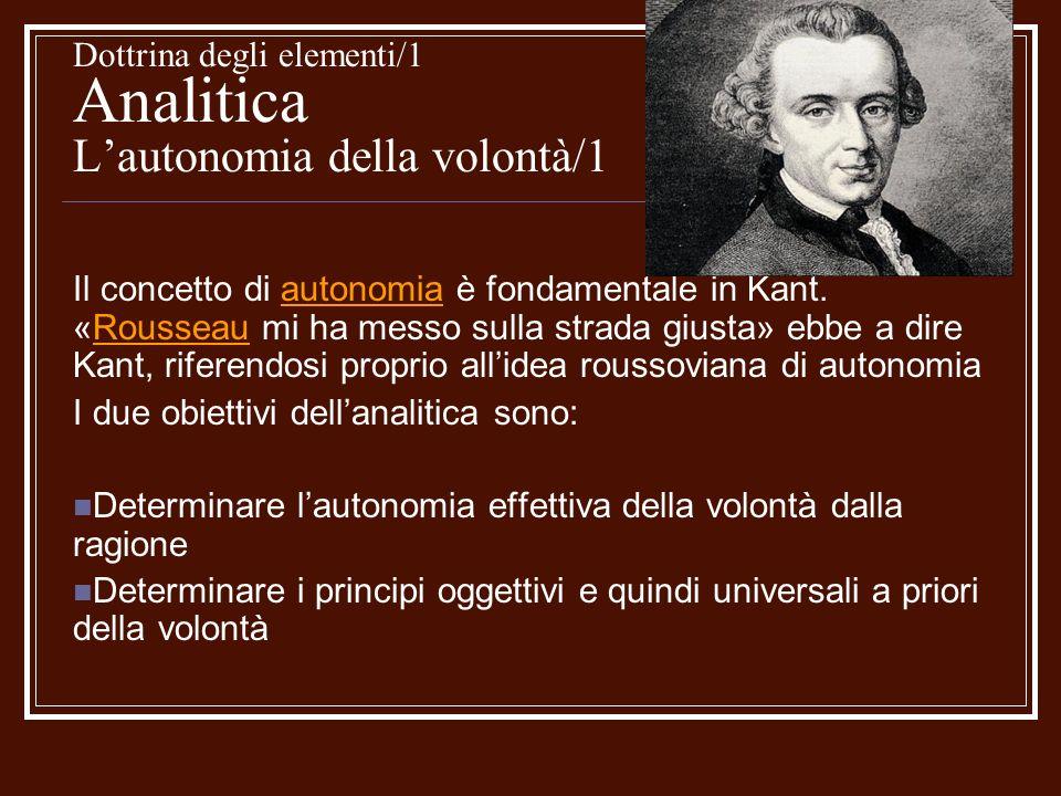Dottrina degli elementi/1 Analitica Lautonomia della volontà/1 Il concetto di autonomia è fondamentale in Kant. «Rousseau mi ha messo sulla strada giu