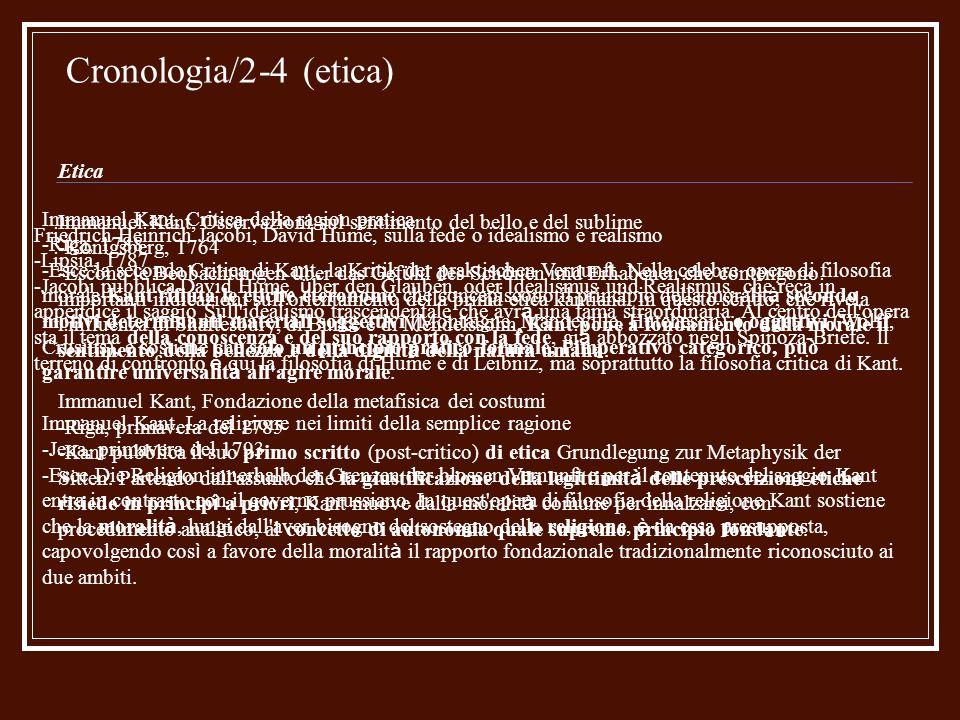 Cronologia/3-4 (filosofia della storia-politica) Filosofia della storia - Politica Immanuel Kant, Risposta alla domanda: che cos è l illuminismo.