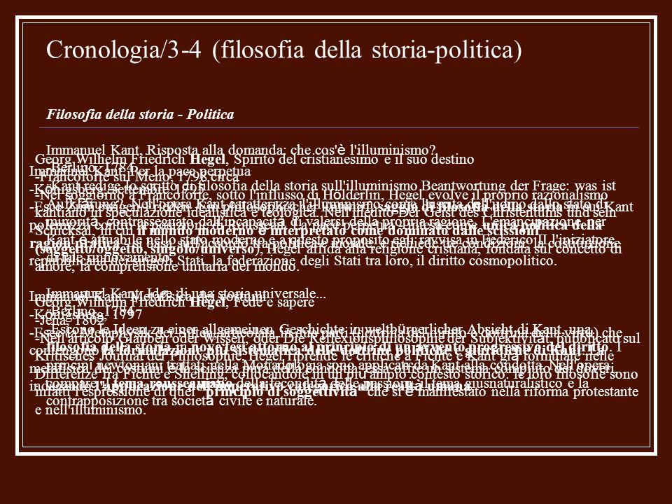 Cronologia/3-4 (filosofia della storia-politica) Filosofia della storia - Politica Immanuel Kant, Risposta alla domanda: che cos' è l'illuminismo? -Be