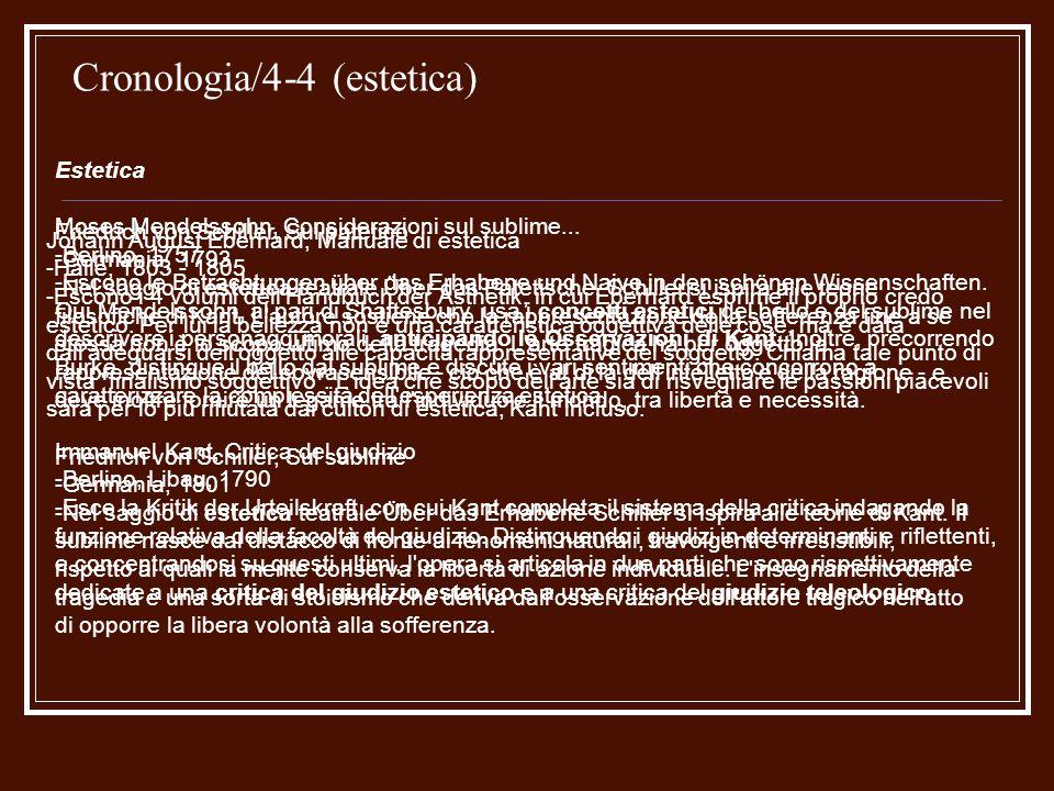 Cronologia/4-4 (estetica) Estetica Moses Mendelssohn, Considerazioni sul sublime... -Berlino, 1757 -Escono le Betrachtungen über das Erhabene und Naiv