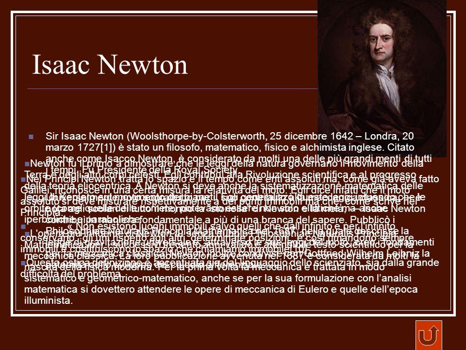 Isaac Newton Sir Isaac Newton (Woolsthorpe-by-Colsterworth, 25 dicembre 1642 – Londra, 20 marzo 1727[1]) è stato un filosofo, matematico, fisico e alc