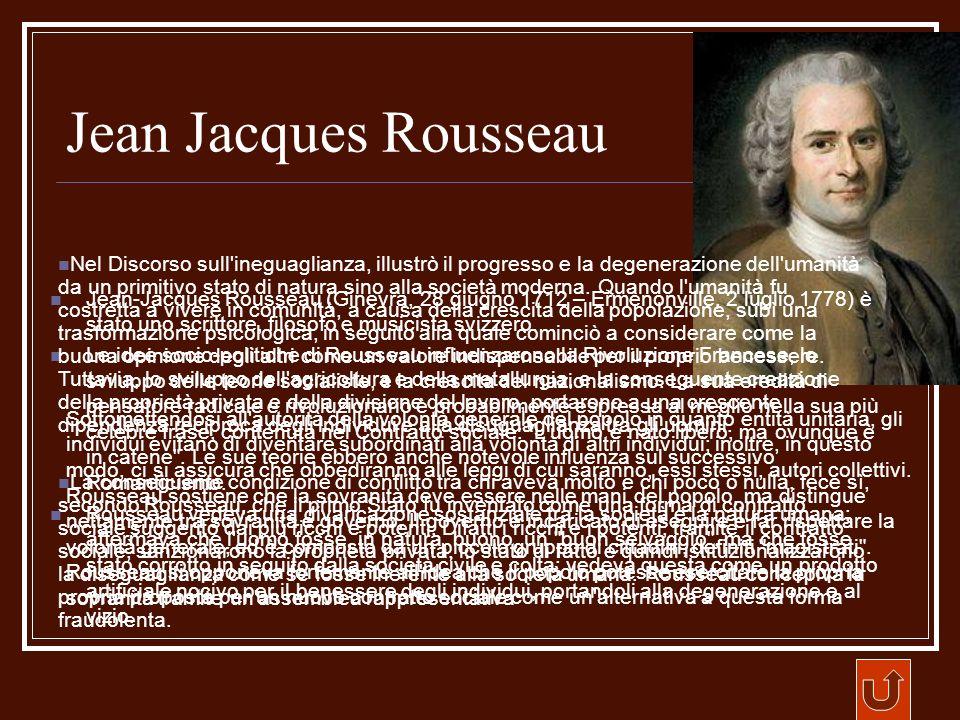 Jean Jacques Rousseau Jean-Jacques Rousseau (Ginevra, 28 giugno 1712 – Ermenonville, 2 luglio 1778) è stato uno scrittore, filosofo e musicista svizze