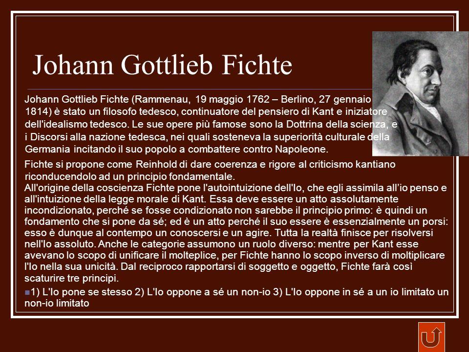Johann Gottlieb Fichte Johann Gottlieb Fichte (Rammenau, 19 maggio 1762 – Berlino, 27 gennaio 1814) è stato un filosofo tedesco, continuatore del pens