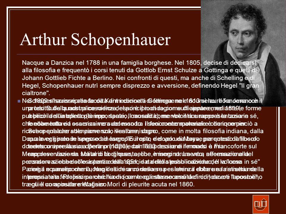 Arthur Schopenhauer Schopenhauer riprende da Kant i concetti di fenomeno e noumeno. Il fenomeno è il prodotto della nostra coscienza, esso è il mondo