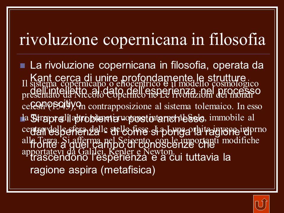 rivoluzione copernicana in filosofia La rivoluzione copernicana in filosofia, operata da Kant cerca di unire profondamente le strutture dellintelletto