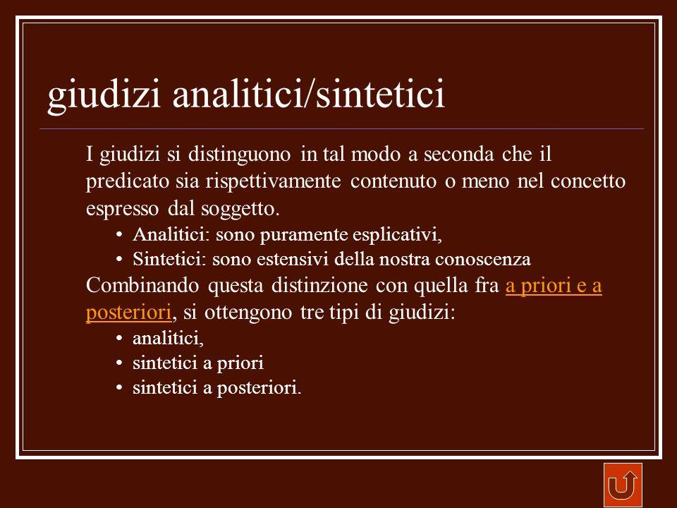 giudizi analitici/sintetici I giudizi si distinguono in tal modo a seconda che il predicato sia rispettivamente contenuto o meno nel concetto espresso
