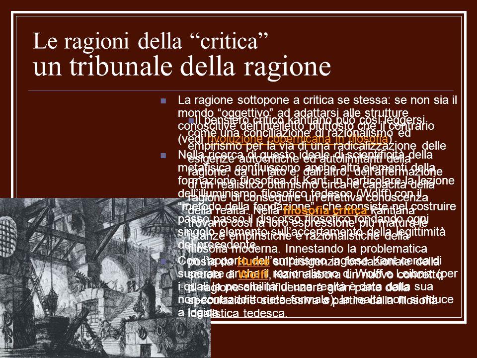 Le ragioni della critica un tribunale della ragione La ragione sottopone a critica se stessa: se non sia il mondo oggettivo ad adattarsi alle struttur