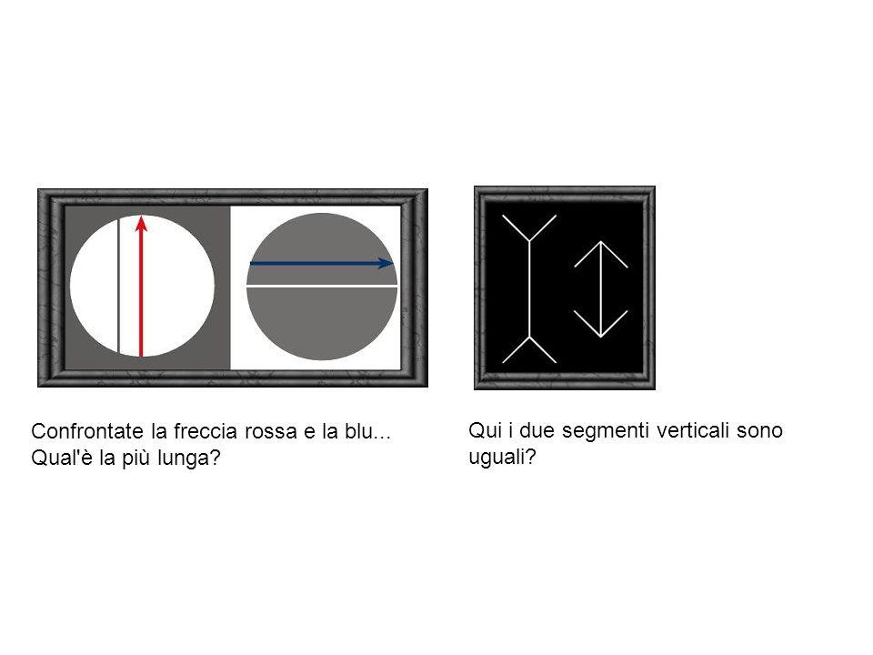 Confrontate la freccia rossa e la blu... Qual'è la più lunga? Qui i due segmenti verticali sono uguali?